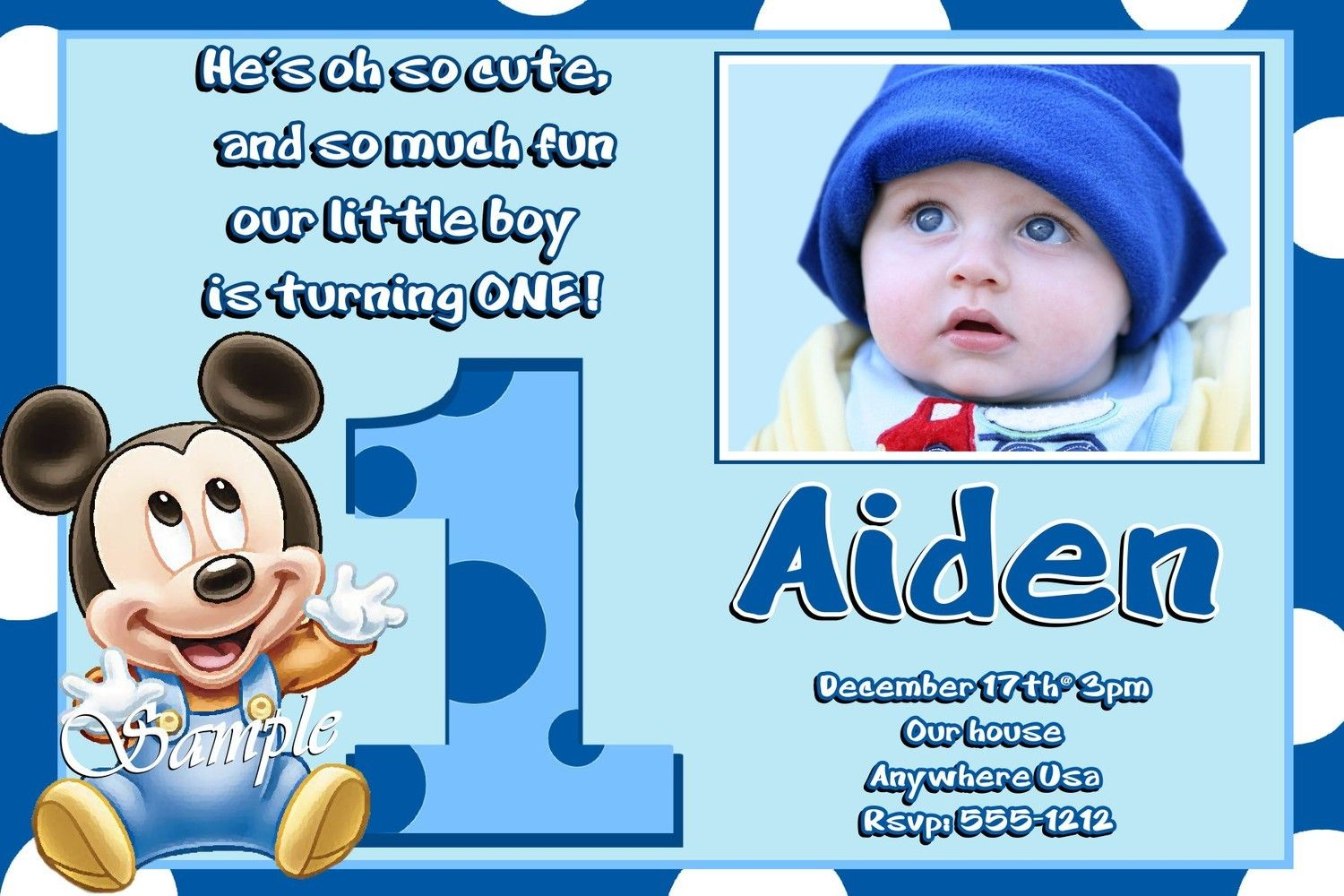 Mickey Mouse 1st Birthday Invitations (Baby Mickey Mouse 1st ...