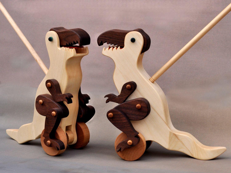 Wooden Toys For Boys : Tyrannosaurus rex push toy animated wooden dinosaur