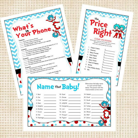 Dr Seuss Thing 1 Thing 2 Baby Shower Games By EnvyDigiDesigns