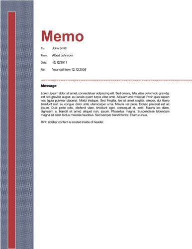 Red Sidebar Business Memo - Free Memo Template by Hloom   - blank memo template