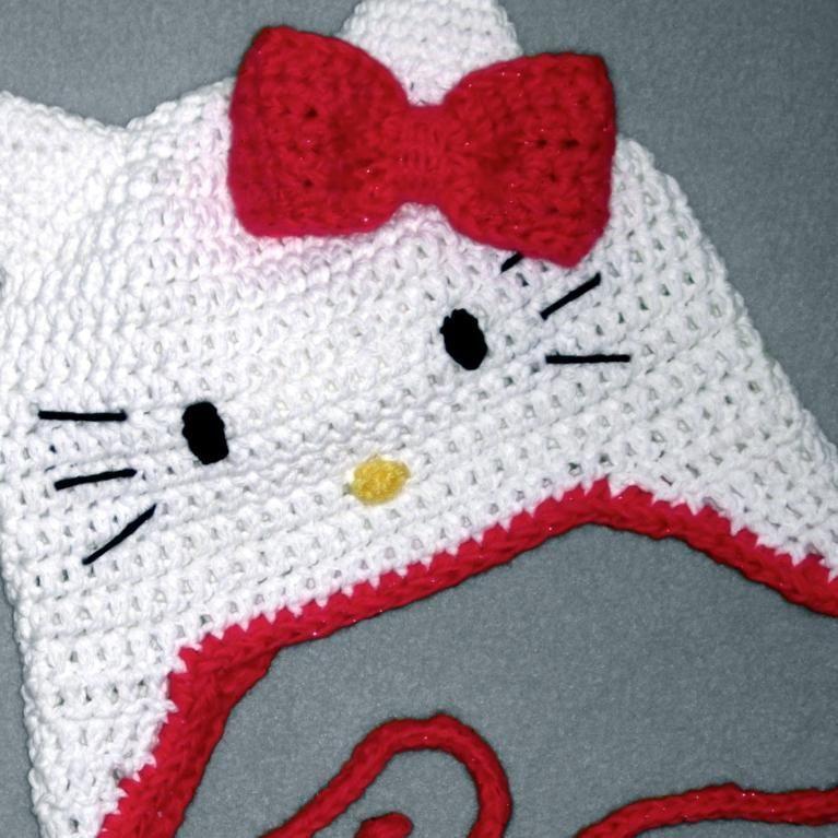 Hello Kitty Beanie Earflap Easy All Sizes Crochet Hat Pattern