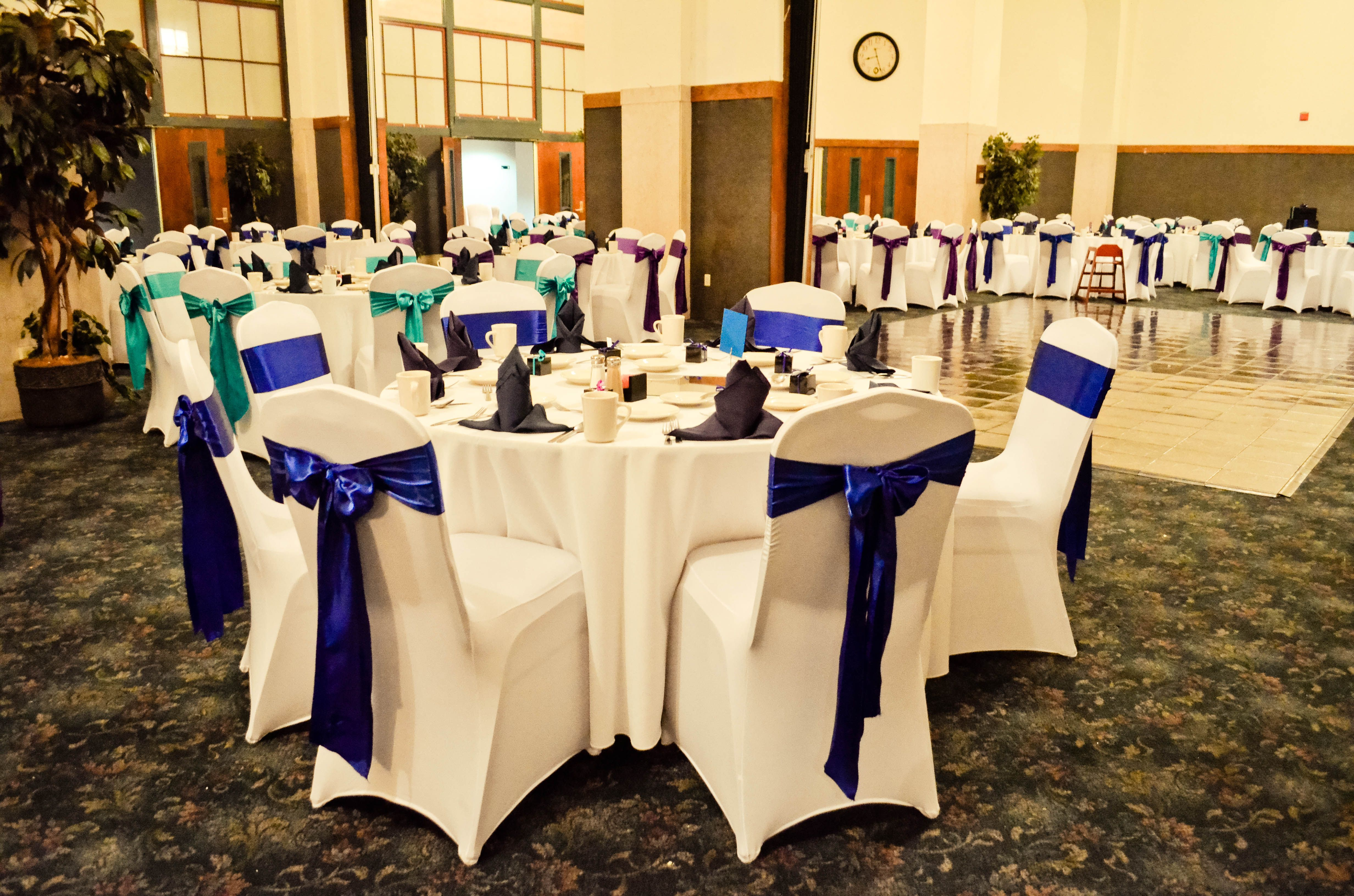 White Spandex Chair Covers Purple Turquoise & Royal Blue Satin