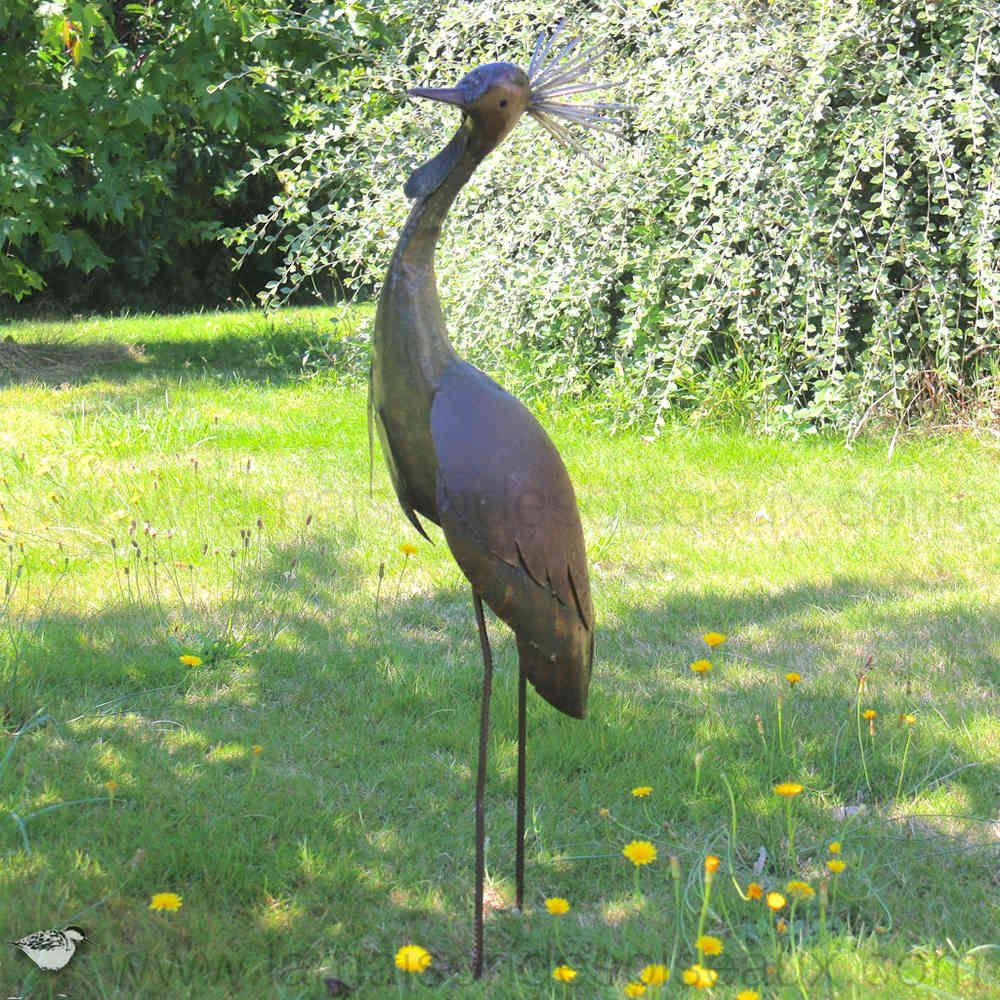 Grue Couronnee 1m20 Sculpture En Metal Deco Jardin Jardines