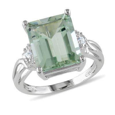 Zales Emerald-Cut Green Quartz and White Topaz Ring in Sterling Silver 5tflHCktN