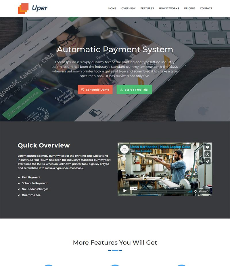 Uper Software Landing Page Html5 Website Template Free Download For Your Software Product It S Developed Using Free Website Templates Landing Page Templates