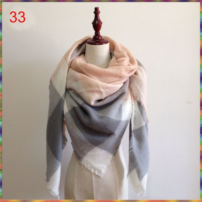 Za Winter Autumn scarf Knit oversize blanket tartan plaid stole Designer Women Bandana Acrylic scarf shawl 140x140cm wrap Autumn