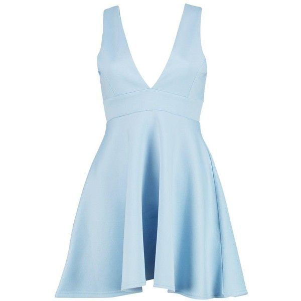 Boohoo Nicole Strappy V Neck Skater Dress | Boohoo ($19) ❤ liked on Polyvore featuring dresses, v neckline dress, boohoo dresses, v-neck dresses, strap dress and blue dress