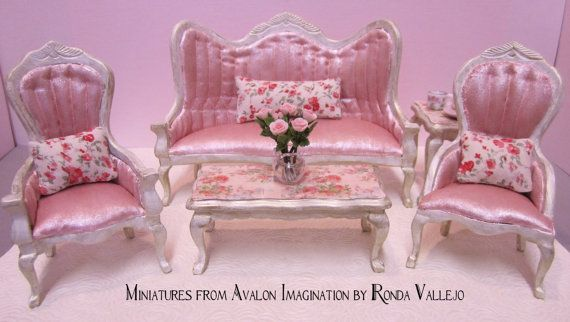 1:12th Scale miniature dollhouse Shabby Victorian Furniture ...