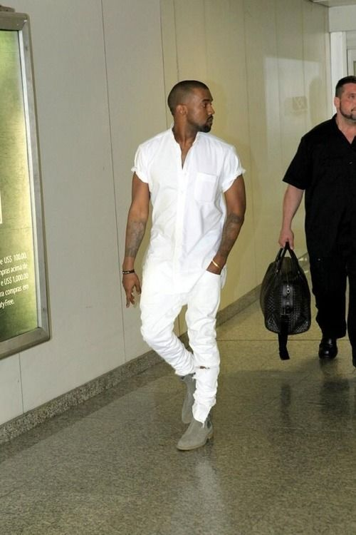 Kanye West In All White Looking Stylish White Outfit For Men Grey Suede Chelsea Boots Kanye West Style