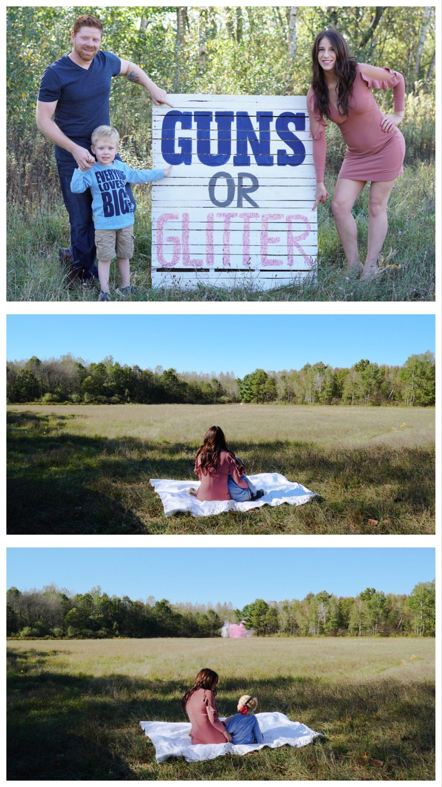Guns or glitter Baby announcement Gender reveal Sibling Tannerite