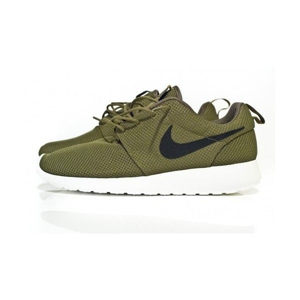 nike roshe run olive green sail woven tag on back