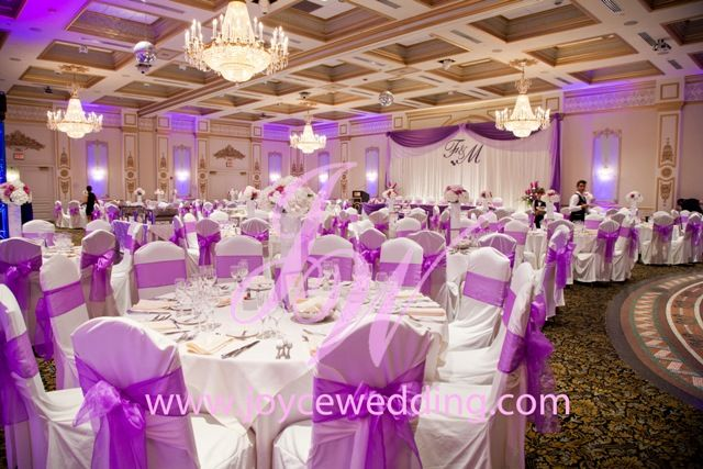 Reception Hall With Theme Colour On Purple And White