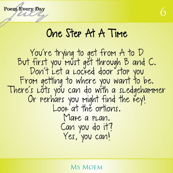 One Step At A Time | Time poem, Poems, Life quotes