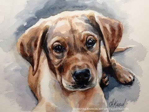 Watercolor Painting Puppy Dog Portrait Demo By Ch Karron Youtube