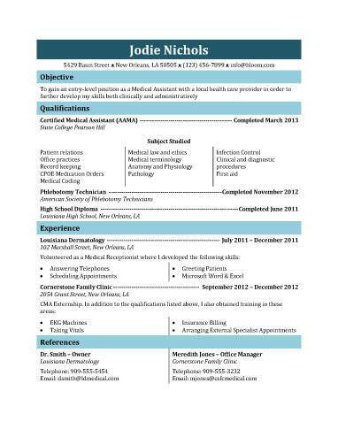 Student Medical Assistant Resume Template  Medical