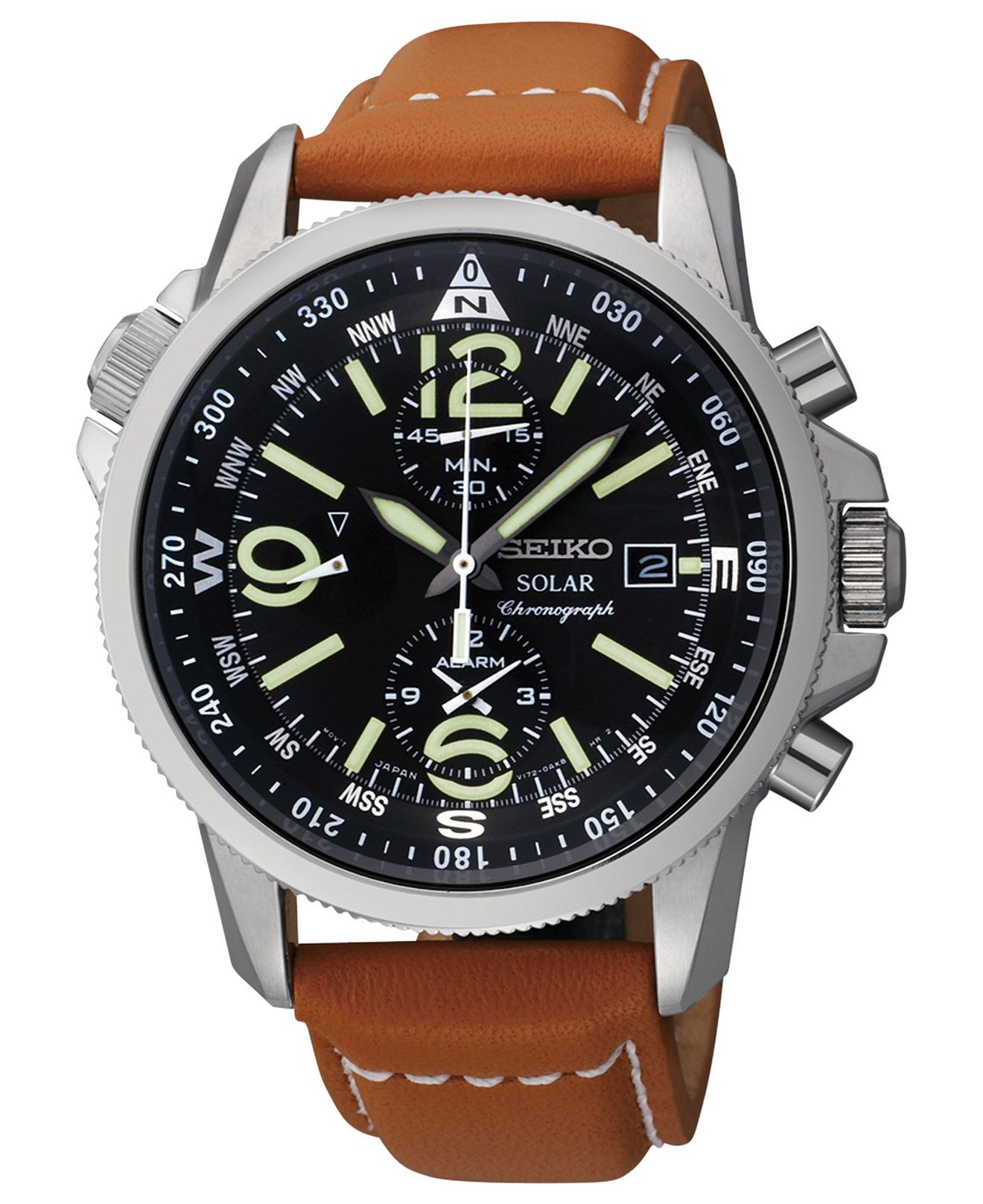 5e6e438de Seiko Watch, Men's Chronograph Solar Tan Leather Strap 42mm SSC081 - Watches  - Jewelry & Watches - Macy's