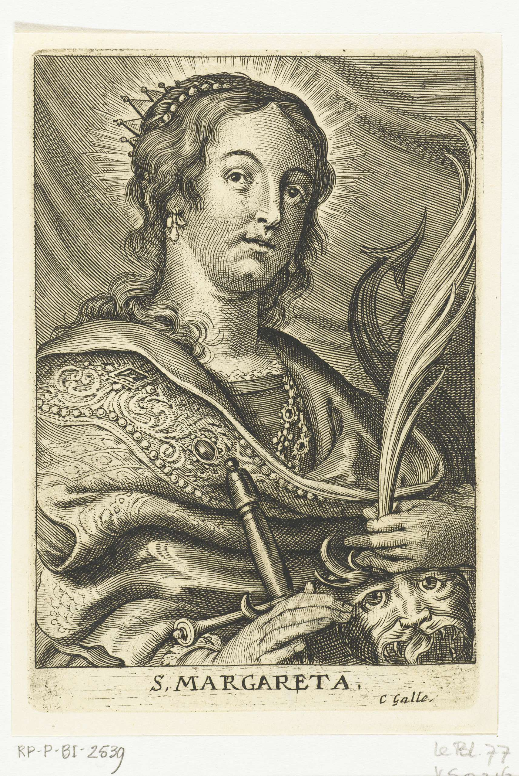 Schelte Adamsz. Bolswert | Heilige Margareta van Cortona met hond, Schelte Adamsz. Bolswert, Peter Paul Rubens, Cornelis Galle (II), 1596 - 1659 |