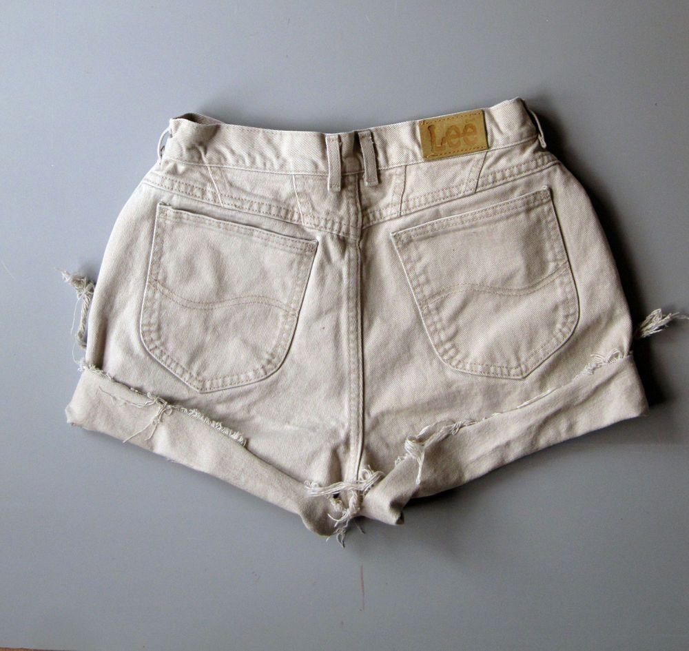 deeaf6fd76 Vintage 90s High Waisted Cut Off Denim Shorts Mom Jeans 12 Lee 28