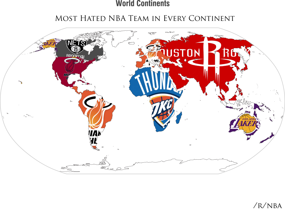 This is a map of which NBA team is the most hated in each country ...