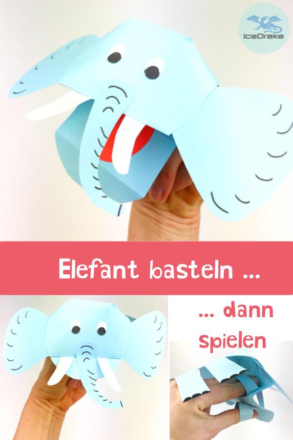 Elefanten Basteln Fingerpuppe Aus Papier Tiere Basteln