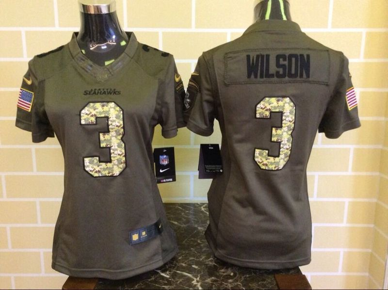 Womens Seattle Seahawks 3 Wilson Green Salute To Service Nike Limited Jersey . ccc0d1dee