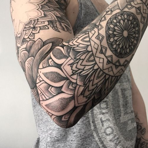 Mandala Sleeve Dotwork Unterarm Tattoo Mann Tattoos Manner