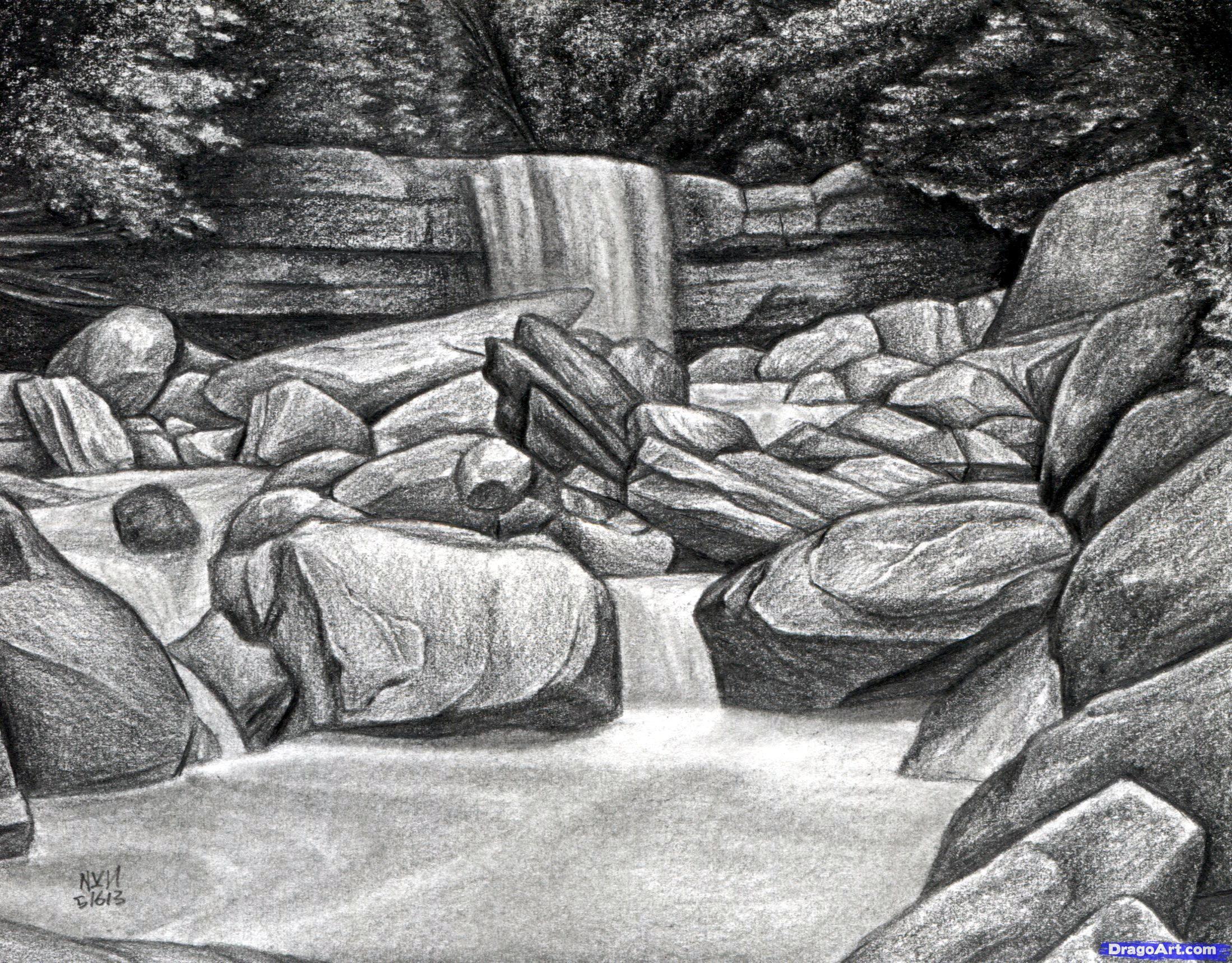 целых как нарисовать картинки водопадов с камнями этого супа свежий