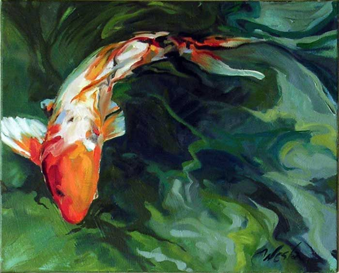 Stephanie west fine art paintings koi water lily and for Koi artwork