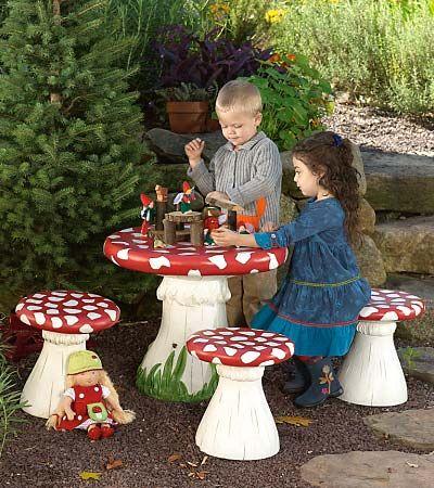Garden Ideas · Mushroom Table And Stool