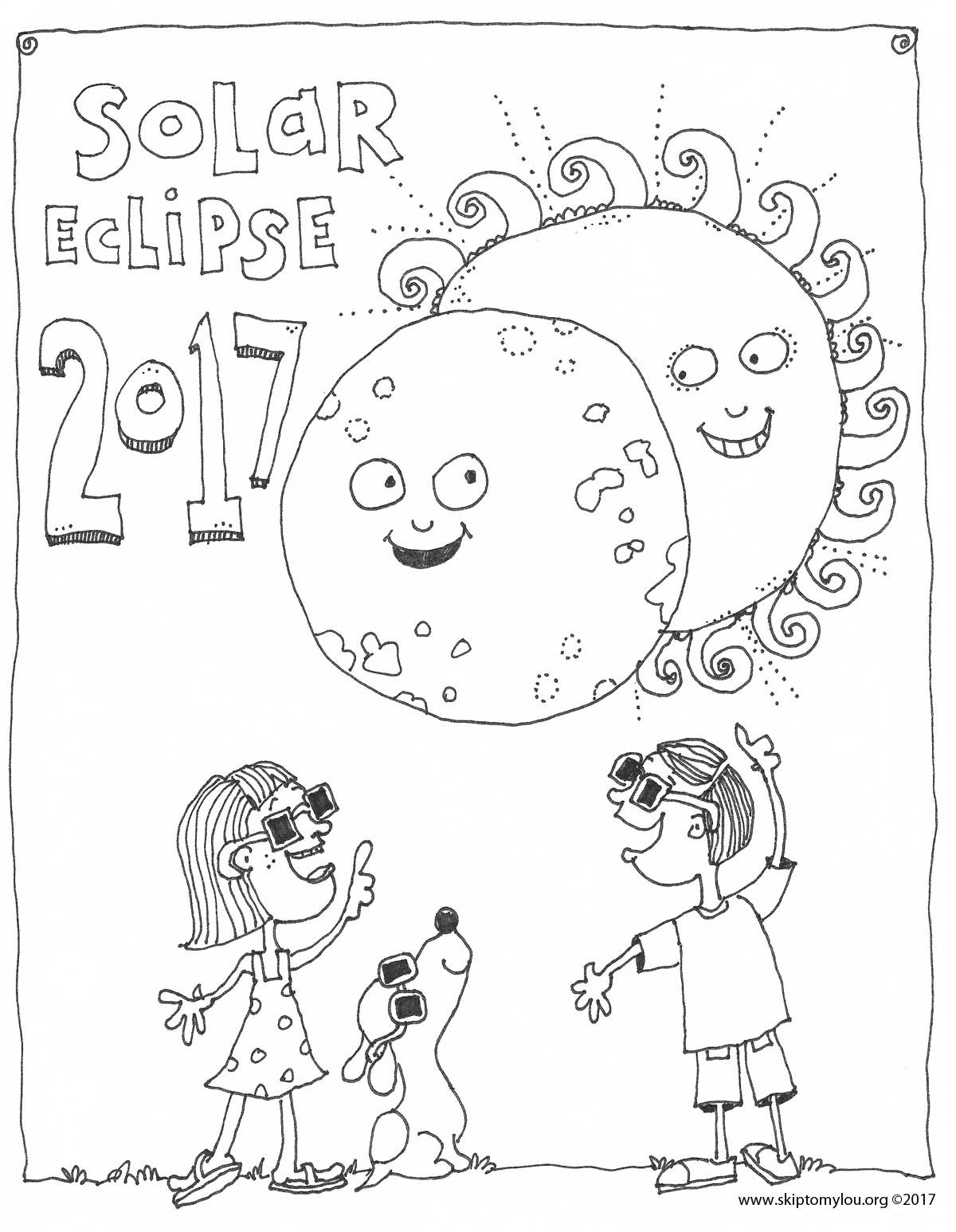 free printable coloring page and memory keeper for the solar eclipse