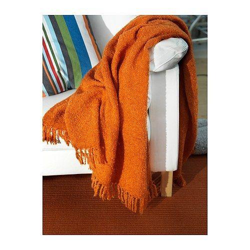 New Ikea Ritva Throw Blanket Orange Mohair Fringed Trim Orange Throws Ikea Ikea Throws
