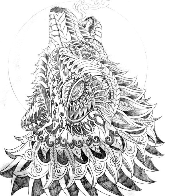 Ornately Decorated Wolf Howling At The Moon In The Cold Of Night Drawn With Copic Multiliner Sp 0 1 0 25 0 Wolf Colors Coloring Pages Animal Coloring Pages