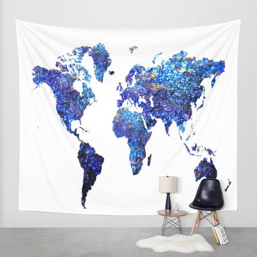 World map wall tapestryblue world map by haroulitasdesign on etsy wall tapestries featuring world map blue purple by haroulita gumiabroncs Image collections
