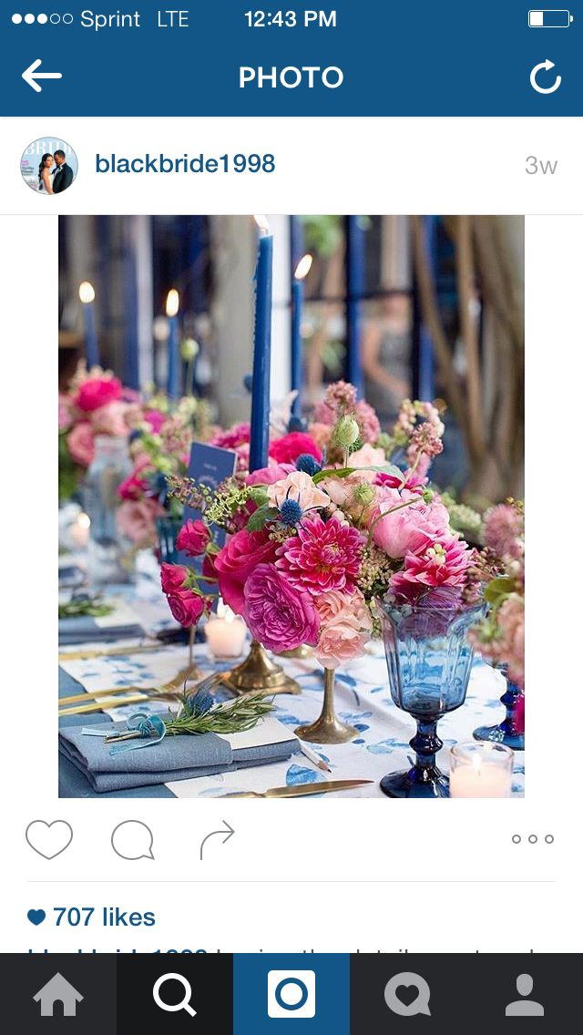 Fuchsia and blue wedding decor