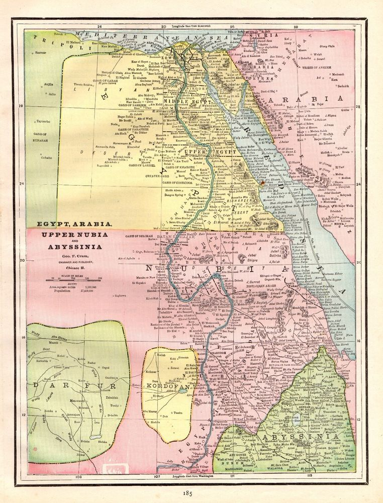 Details About 1893 Antique Map Of Egypt Abyssinia Map Ethiopia Map