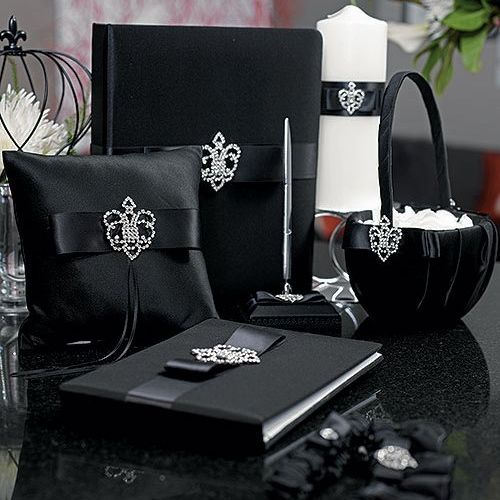 Black Wedding Accessories - Beverly Clark Crowned Jewel Ring Pillow (3 Colors) (5035)