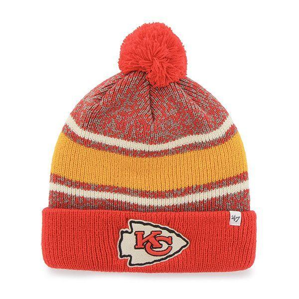 5ea7db316 Kansas City Chiefs 47 Brand Tri-Tone Fairfax Cuffed Knit Poofball Beanie Hat  Cap