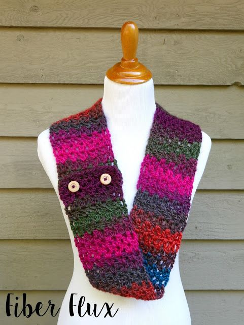 Free Crochet Pattern...Autumn Gems Button Scarf!