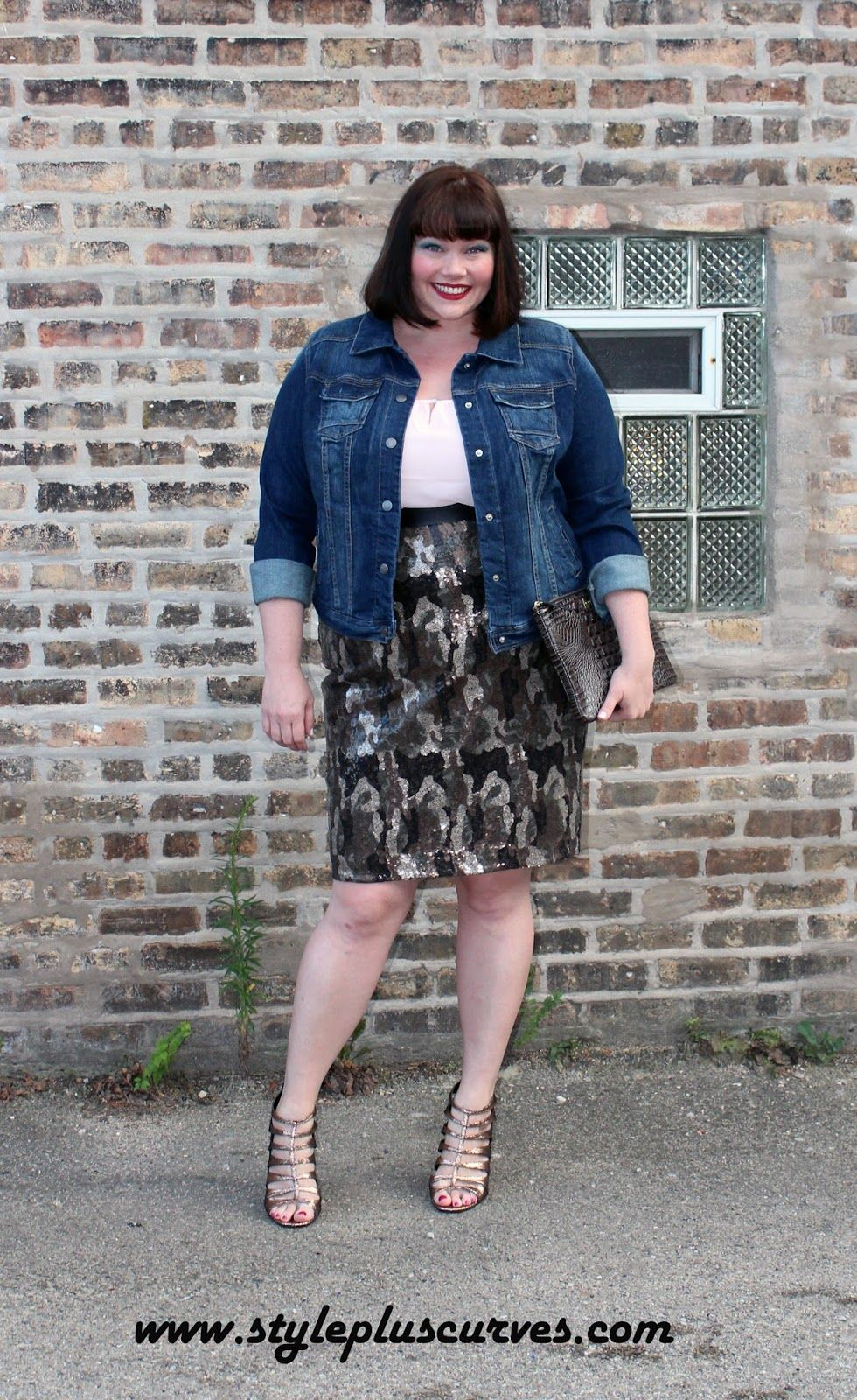 Amber from Style Plus Curves wears a Lane Bryant Camo Sequin Skirt ...