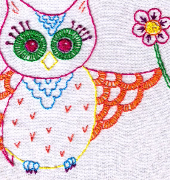 Boho Owl With A Flower Hand Embroidery Pattern By Ravenfrog Hand
