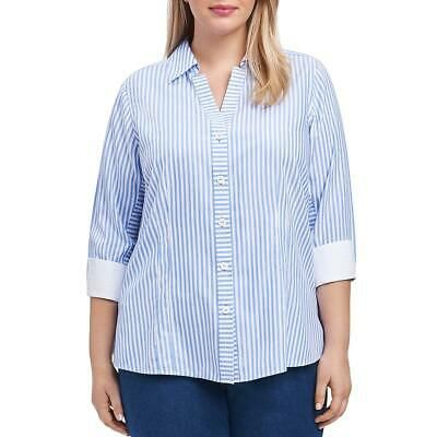 Foxcroft NYC Womens Blue Cotton Striped Shirt Button-Down Top Blouse 6 BHFO 3384 #fashion #clothing #shoes #accessories #women #womensclothing (ebay link)