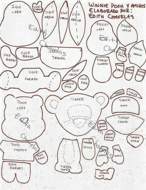 Moldes de winnie pooh y sus amigos para imprimir   Fieltro   Pinterest