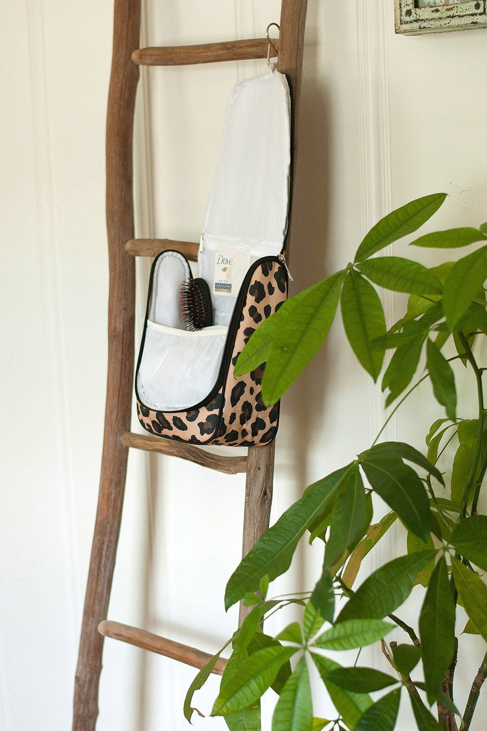 Personalized Leopard Hanging Travel Case Cosmetic Bag
