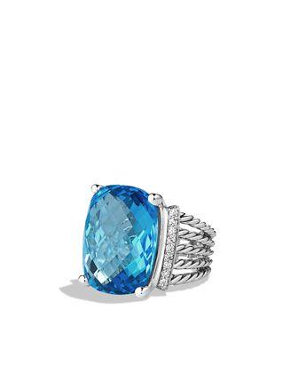 85c58e30efbe7 David Yurman Wheaton Ring with Blue Topaz and Diamonds   Jewelry Box ...