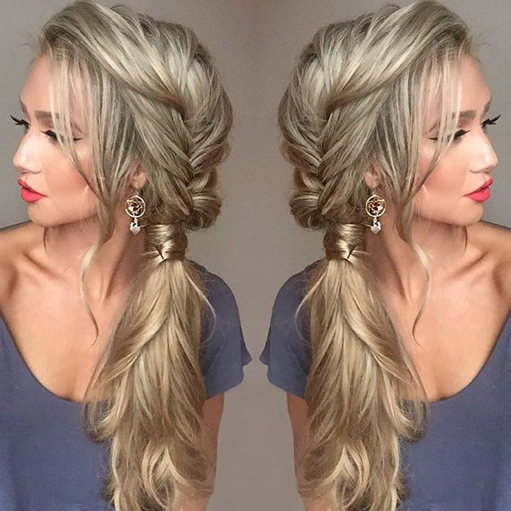 21 pretty side swept hairstyles for prom messy fishtail braids hair for bridesmaid this hairstyle double tap if you like it this beauty has been enjoying creating hairstyles with her dirty blonde extensions for length pmusecretfo Choice Image
