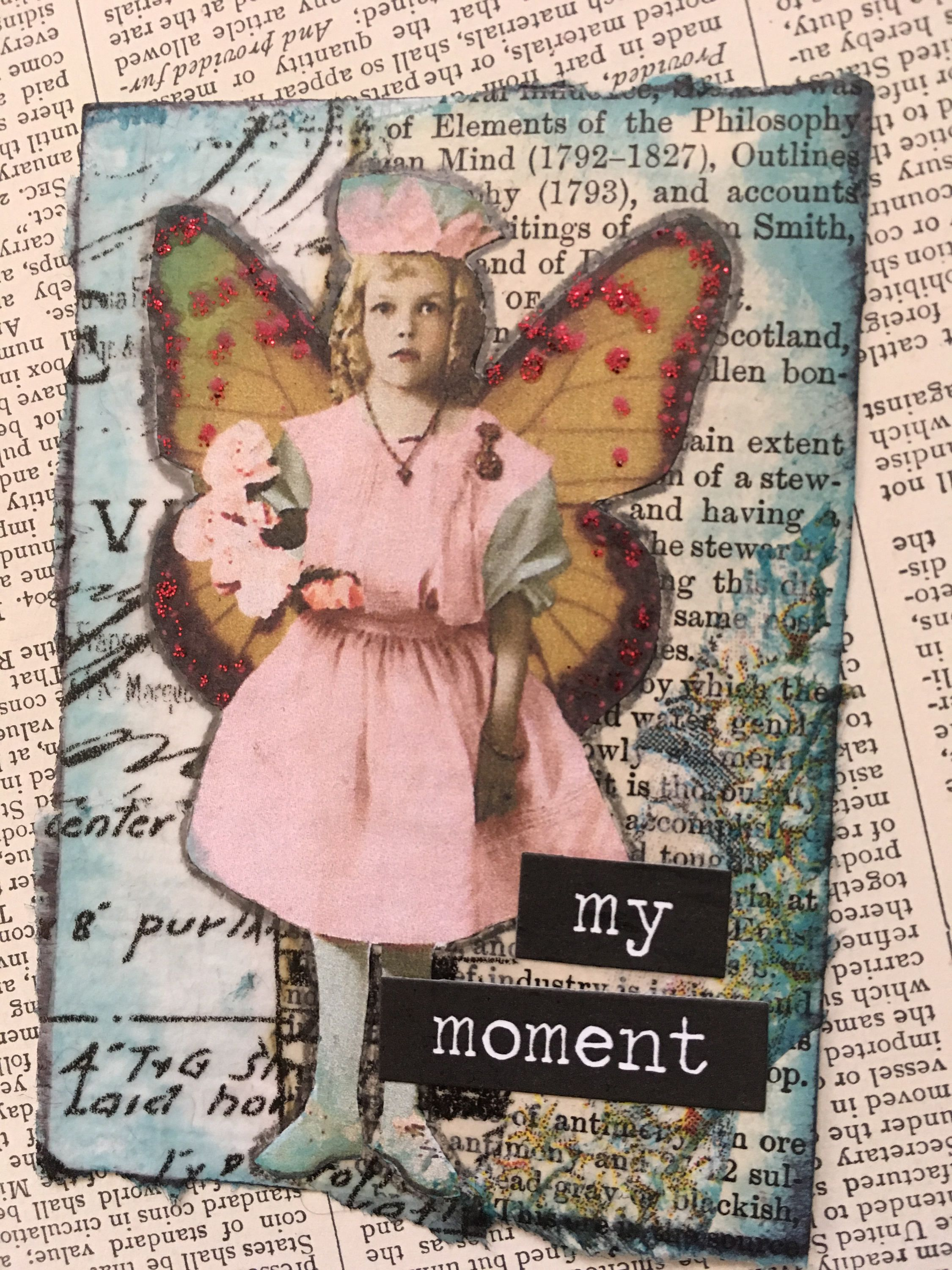 "ACEO ATC one-of-a-kind Original ""My Moment"" Artist Trading Card by PaperPastiche on Etsy"