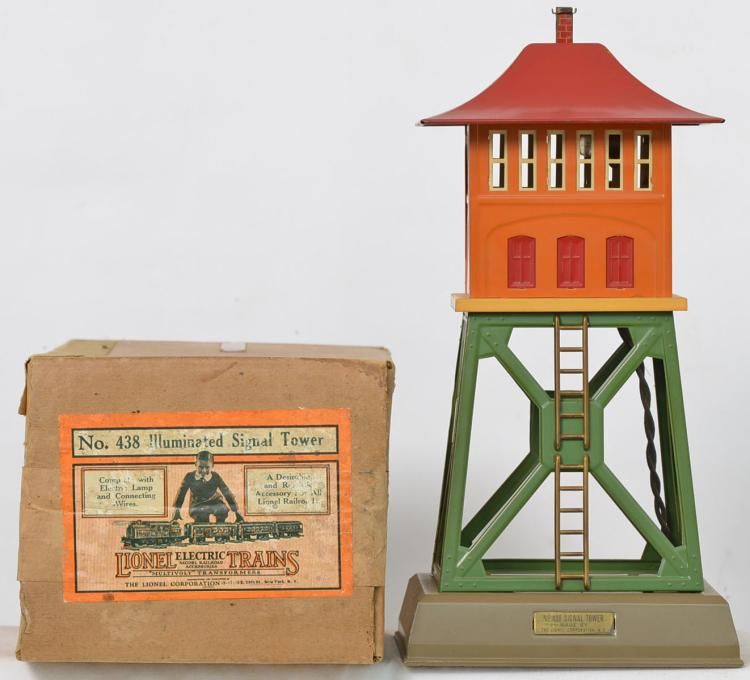 Lionel Prewar O Gauge 438 Signal Tower, Mojave Base, Green Structure, Terra  Cotta