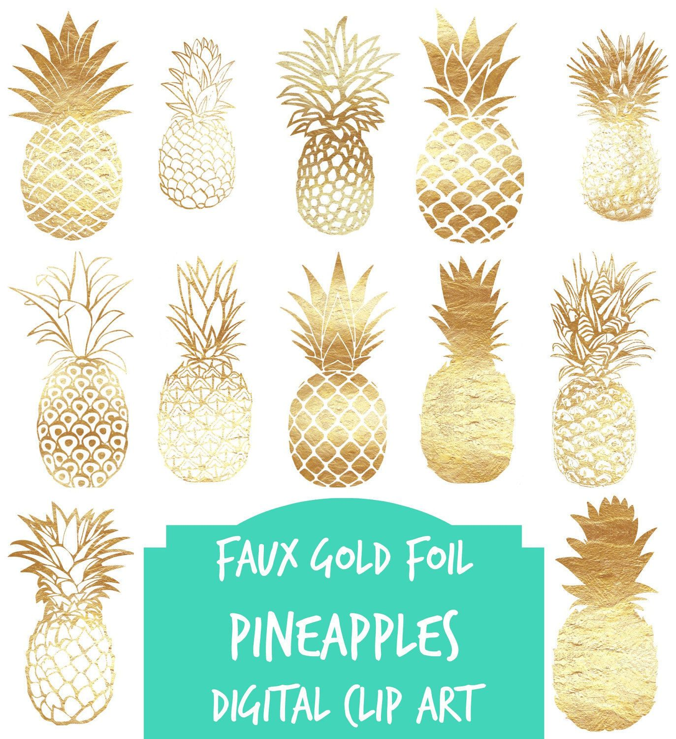 Digital Clip Art 12 Gold Foil Pineapples Digital Clip Art