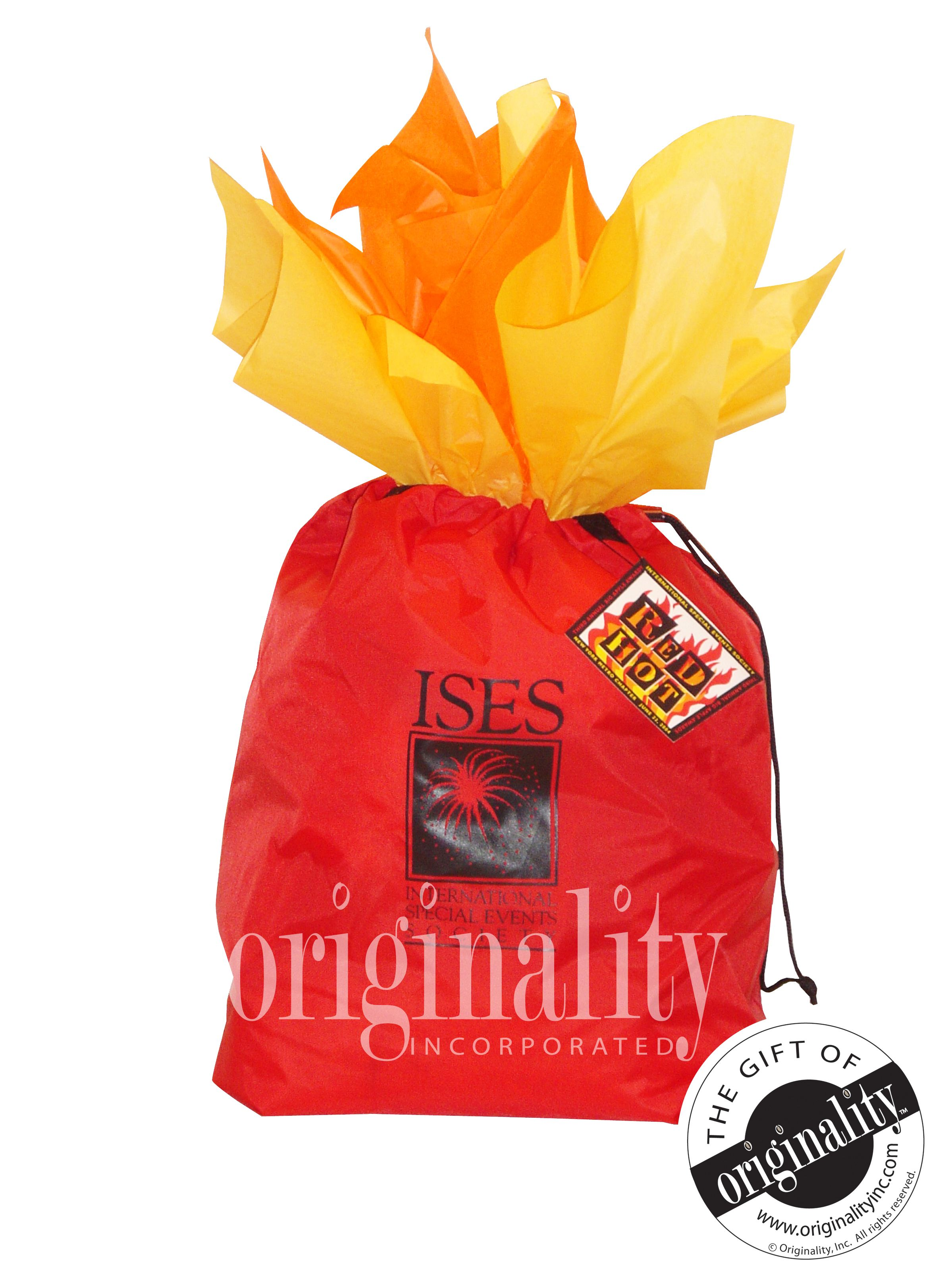 This red fabric bag with tissue was created to represent fire.  It was for an ISES event that was held in New York City. #ISES #NYC