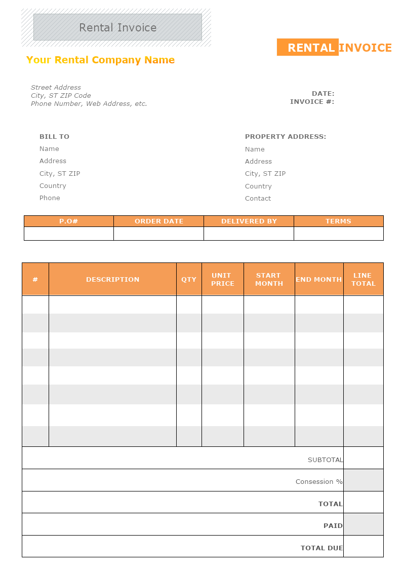 This is a rental invoice template that helps you send